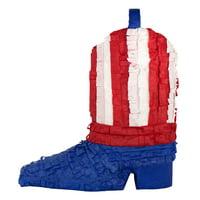 American Flag Patriotic Boot Pinata 15in x 15in