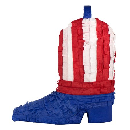 (2 Pack) American Flag Patriotic Boot Party Pinata, Handcrafted