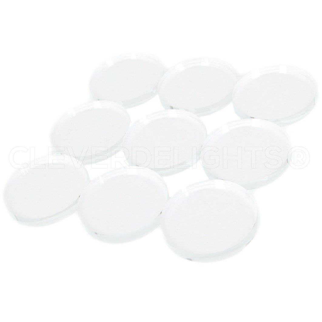 CleverDelights 40mm 20 Pack Round Clear Glass Tiles 1 9//16