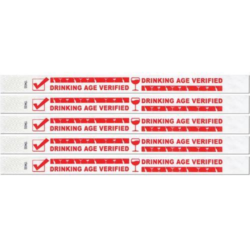 Bulk Buys Drinking Age Verified Tyvek Wristbands -  Case of 6