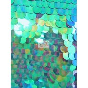 Big Dot Sequin Hologram Mesh Fabric / Mermaid Green / Sold By The Yard