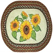 "Earth Rugs 65-300S Sunflowers Oval Design Rug, 20 by 30"", Braided, Honey/Vanilla/Ginger"