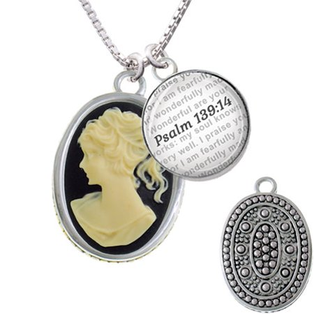 (Oval - Black Cameo - Bible Verse Psalm 139:14 Glass Dome Necklace)