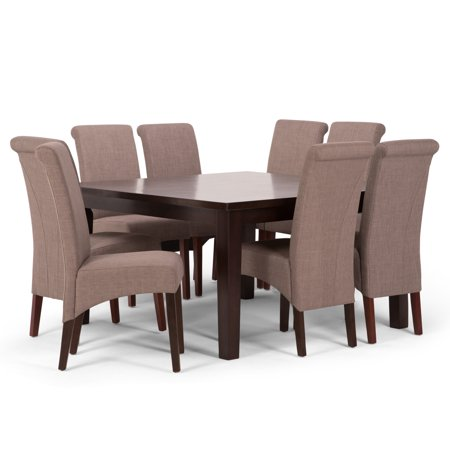 Brooklyn + Max Lincoln Contemporary 9 Pc Dining Set with 6 Upholstered Dining Chairs in Light Mocha Linen Look Fabric and 54 inch Wide Table ()