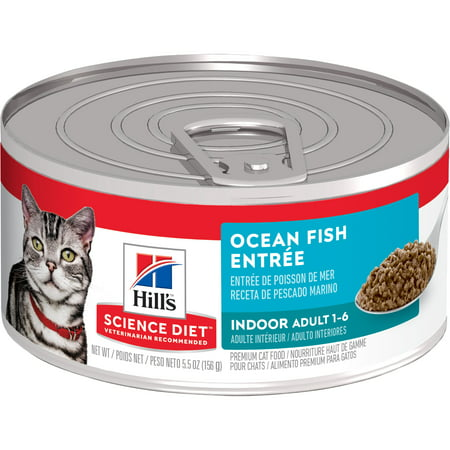 (24 Pack) Hill's Science Diet Adult Indoor Ocean Fish Entree Wet Cat Food, 5.5 oz.