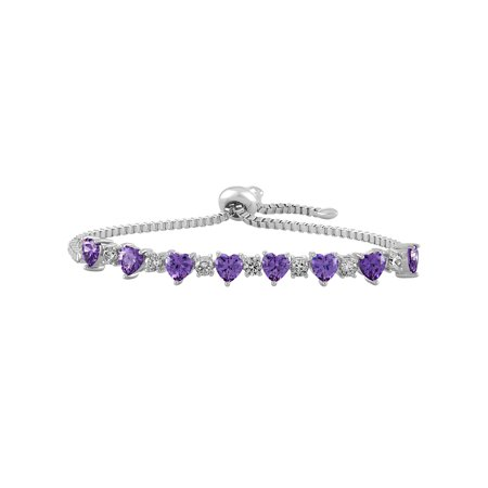 Sterling Silver Plated Simulated Amethyst with CZ Accents Adjustable Heart Bolo Bracelet