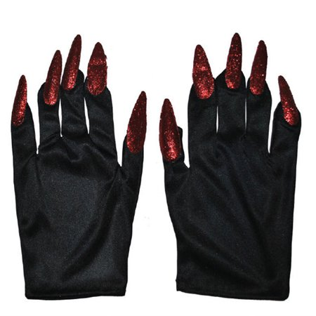 Halloween Costume Witch Nail Gloves, Black with Red Nails ...