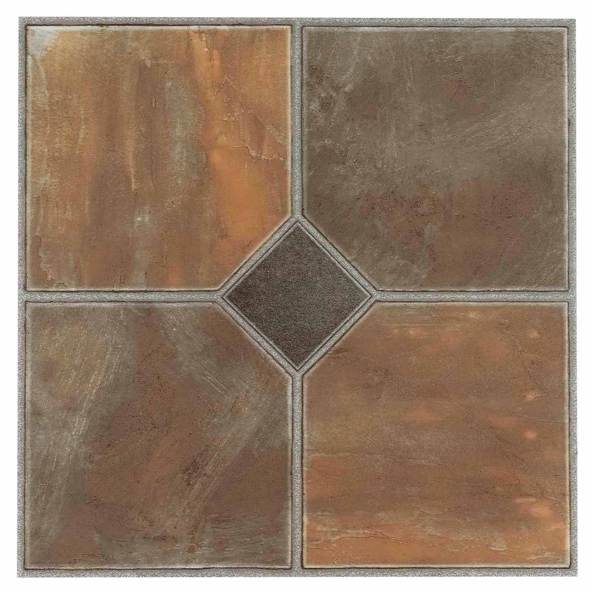 NEXUS Rustic Slate 12x12 Self Adhesive Vinyl Floor Tile - 20 Tiles/20 Sq.Ft.