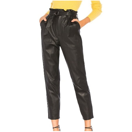 Womens High Waist Paperbag PU Leather Trousers Ladies Party Cigaratte Pants Design Genuine Leather Ladies Pants