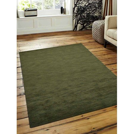 Rugsotic Carpets Lori Knotted Woolen 8' x 8' Solid Round Rug Brown L00111-Color:Green,Material:Woolen,Shape:Rectangle,Size:3' x 5' 8' Round Wool Rug