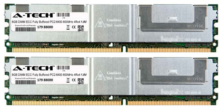 16GB Kit 2x 8GB Modules PC2-6400 800MHz 1.8V 4Rx4 ECC Fully Buffered DDR2 DIMM Server 240-pin Memory Ram
