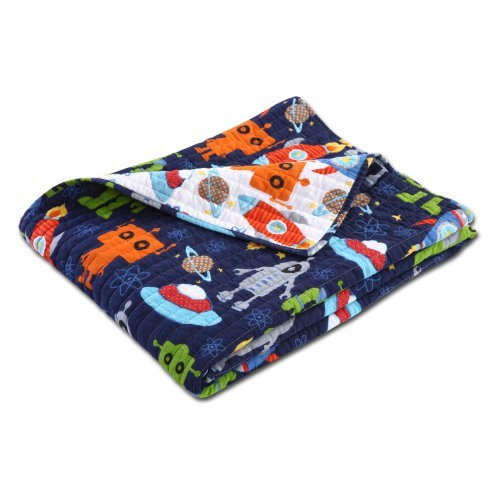 Greenland Home Fashions Robots in Space Cotton Throw Blanket