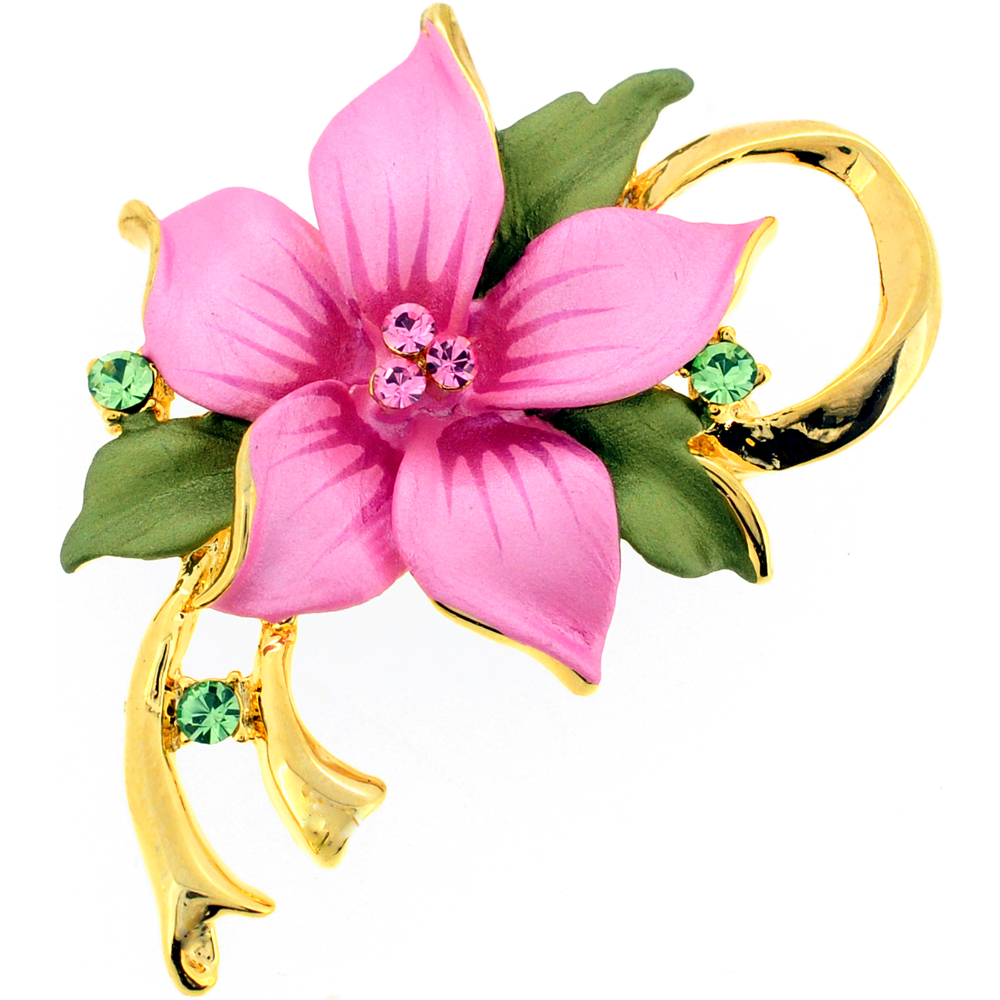 Pink Poinsettia Flower Swarovski Crystal Pin Brooch and Pendant by