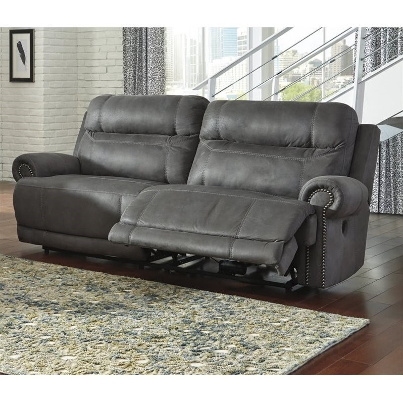 Ashley Austere 2 Seat Faux Leather Reclining Power Sofa in Gray
