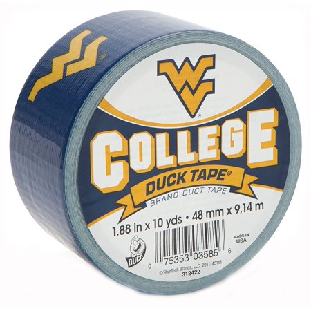 Kentucky Yard - Brand 240289 West Virginia University College Logo Duct Tape, 1.88-Inch by 10 Yards, Single Roll, Pay tribute to an alma mater or favorite school By Duck