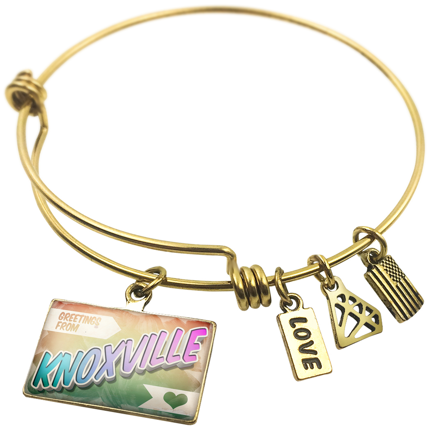 Expandable Wire Bangle Bracelet Greetings from Knoxville, Vintage Postcard - NEONBLOND