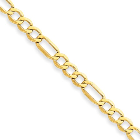Mens Gold Figaro Bracelet - 10k Yellow Gold 7in 4.75mm Semi-Solid Figaro Chain Bracelet