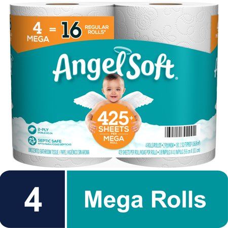 Angel Soft Toilet Paper, 4 Mega Rolls