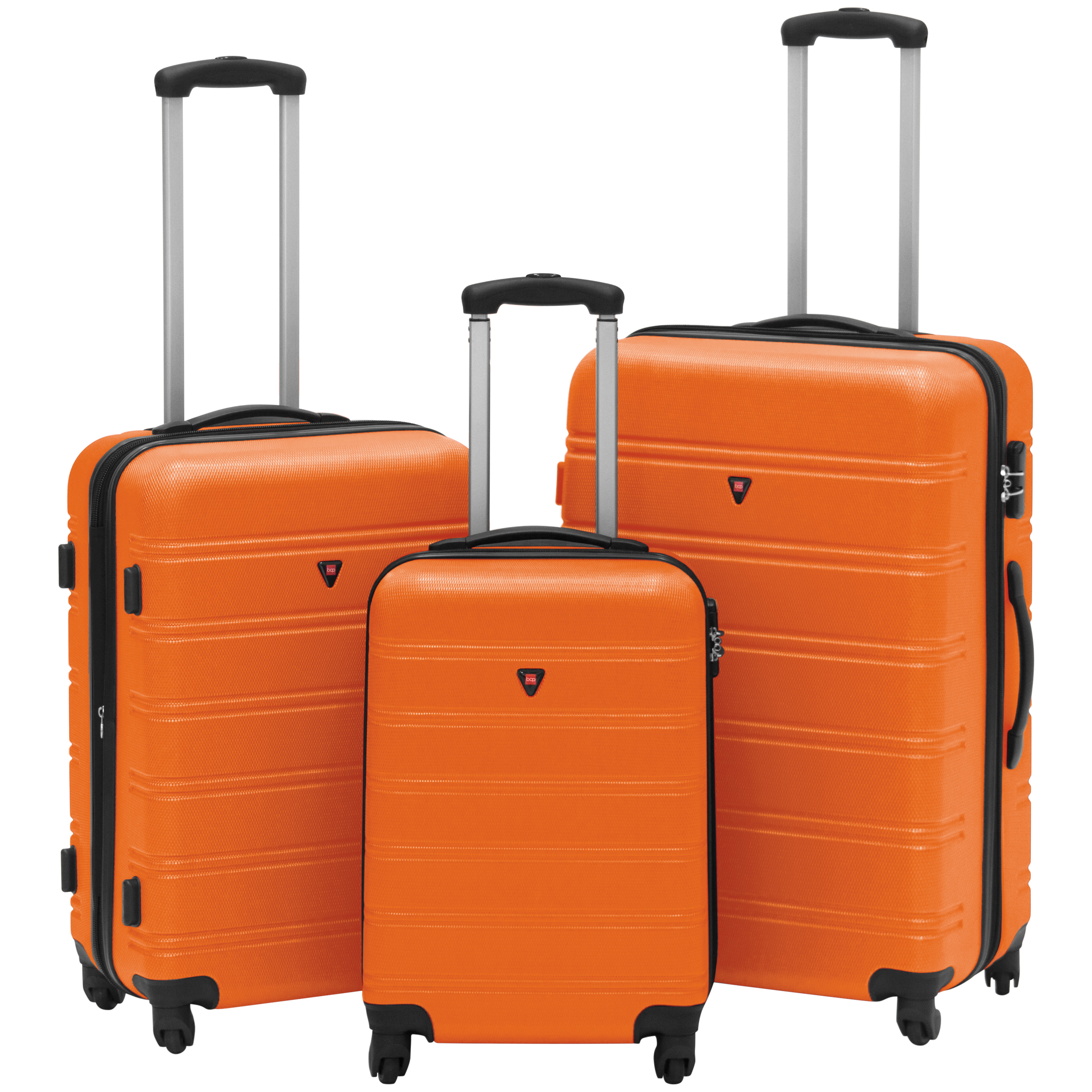 Best Choice Products Hardshell 3 Piece Expandable Spinner Luggage Set - Orange
