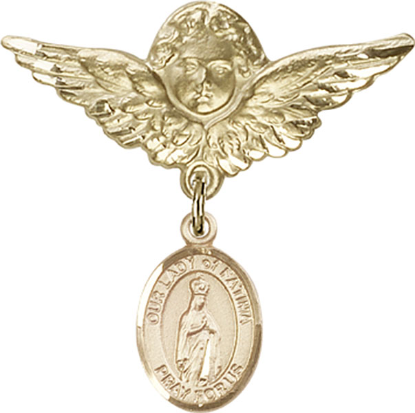Baby Badge Pin with Our Lady of Fatima Charm on Angel with Wings Badge Pin in Gold Filled by Bliss Mfg. Makes Great Catholic Baby Baptism Gift. Made in the USA!