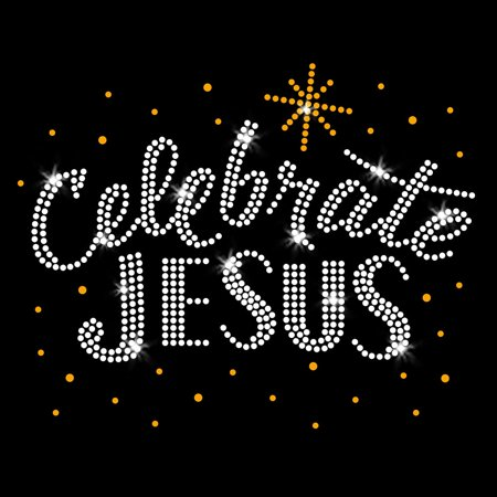 Gold Celebrate Jesus Iron On Rhinestone Transfer