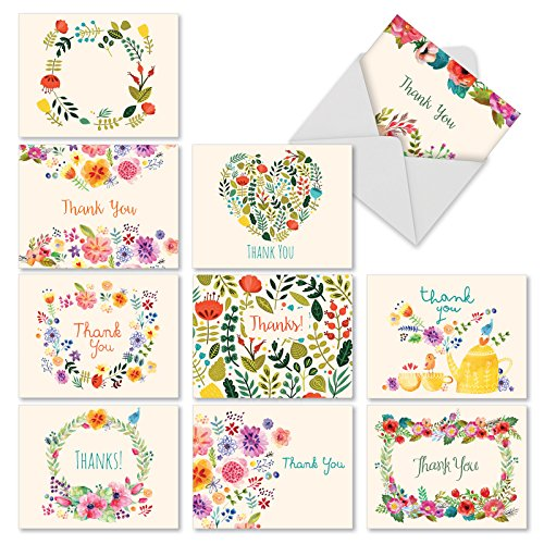 'M2364TYG GRATEFUL GREETINGS' 10 Assorted Thank You Notecards Featuring Images of Sweet Floral Sprays Surrounding the Words Thank You with Envelopes by The Best Card Company
