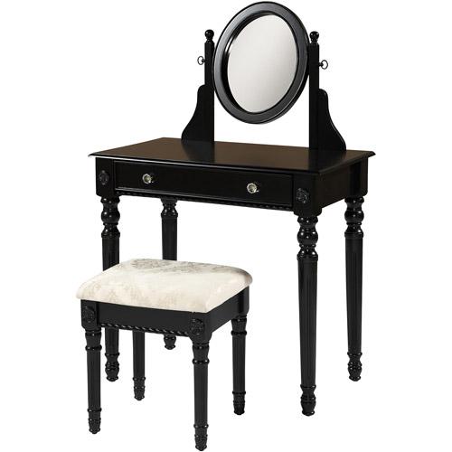 Linon Home Decor Lorraine Vanity Set, Black