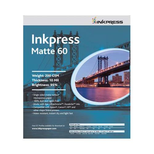 "Inkpress Matte 60 Single Sided Bright White Inkjet Paper, 10 mil., 200gsm., 11x14"", 50 Sheets"