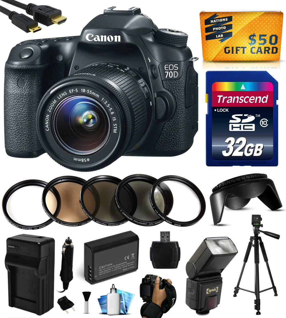 Canon EOS 70D Digital SLR Camera with 18-55mm STM Lens with 32GB Memory + Flash + Extra Battery + Travel Charger + Lens Hood + UV-CPL-FL-ND4-10x Macro Filters + Cleaning Kit + $50 Gift Card 8469B009