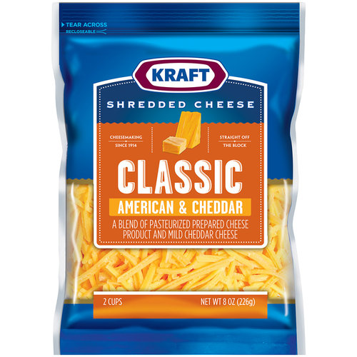 Kraft Classic American & Cheddar Shredded Cheese, 8 oz