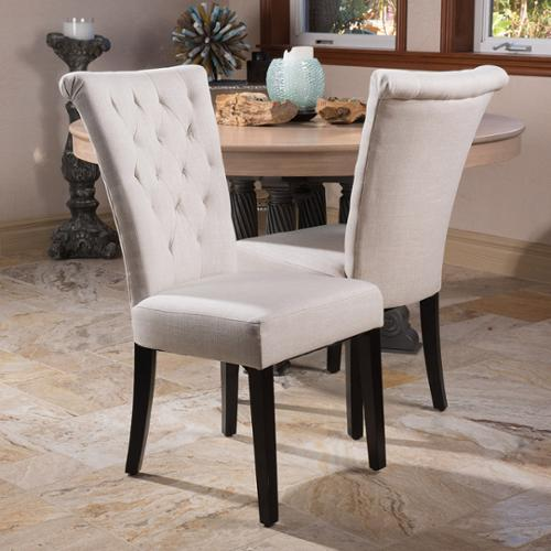 Alexandria Light Beige Velvet Fabric Wood Dining Chair (Set of 2)