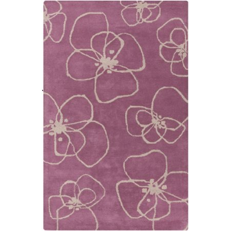 8 X 11 Thin Floral Shaped Flowers Rose Pink And Light Gray Wool
