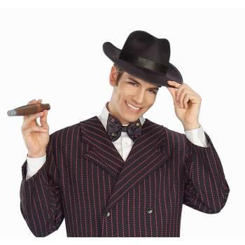 HAT-GANGSTER ADULT BLACK - Adult Black Gangster Hat
