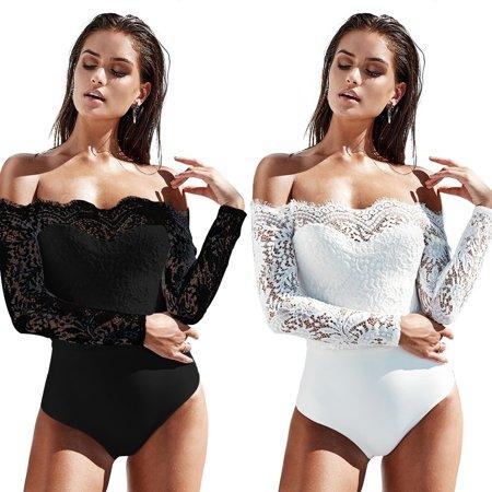 Sexy Women Bodysuit New Off Shoulder Long Sleeve Bodysuit Stretch Leotard Casual Tops Lace Jumpsuit