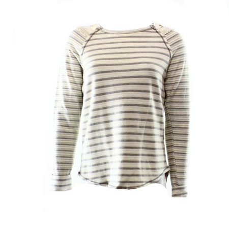 Jolt NEW Beige Gray Striped Lace-Up Women's Size Medium M Scoop Neck Sweater $40
