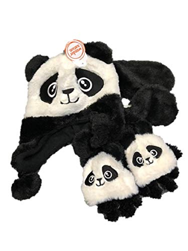 Girls Winter 3pc Set Hat Gloves and Neck Warmer Fur Lined Critters Animals (Panda)