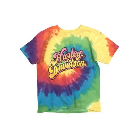 Harley-Davidson Little Girls' Glitter H-D Swirl Tie-Dye Rainbow Tee 1520753, Harley Davidson - Girl With Harley