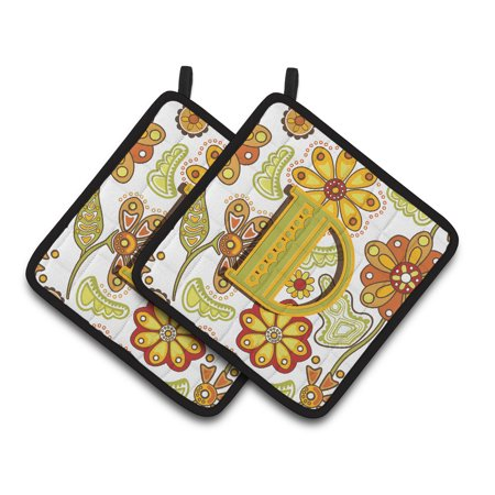 Letter D Floral Mustard and Green Pair of Pot