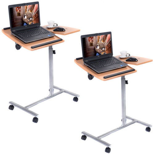 "GHP Home Office 2Pcs 25""Lx18""Wx28-37"" Durable Portable Rolling Laptop Desk/Stand"