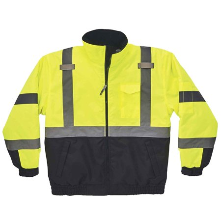 GloWear 8377 ANSI Black Bottom High Visibility Lime Thermal Bomber Jacket, 3XL, Bomber 8377 ZipOut UHV563 PU Size 8379 5XLarge Black Sleeve Pro Orange oxford Rain.., By Ergodyne Ship from US