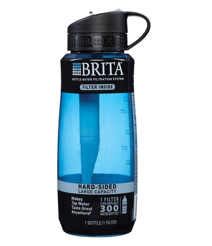 Brita 34 oz Large Hard Sided Water Bottle with Filter BPA Free Moss Green by Clorox USA