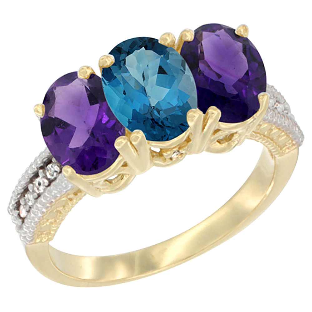 10K Yellow Gold Diamond Natural London Blue Topaz & Amethyst Ring Oval 3-Stone 7x5 mm,sizes 5-10 by WorldJewels