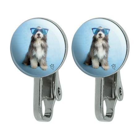Sheepdog Bearded Collie Dog Giant Blue Sunglasses Novelty Clip-On Stud Earrings Old English Sheepdog Earrings