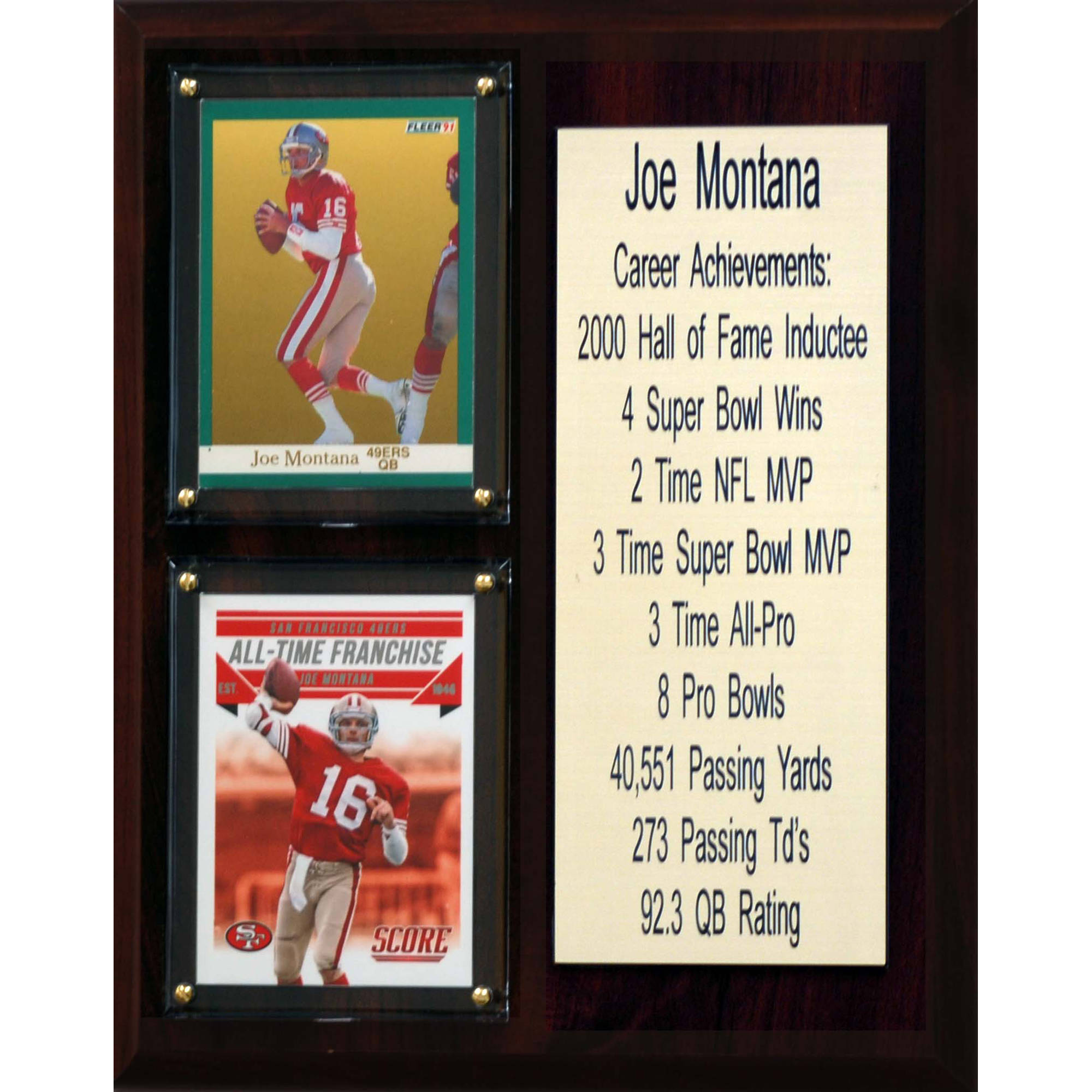 C&I Collectables NFL 8x10 Joe Montana San Francisco 49ers Career Stat Plaque