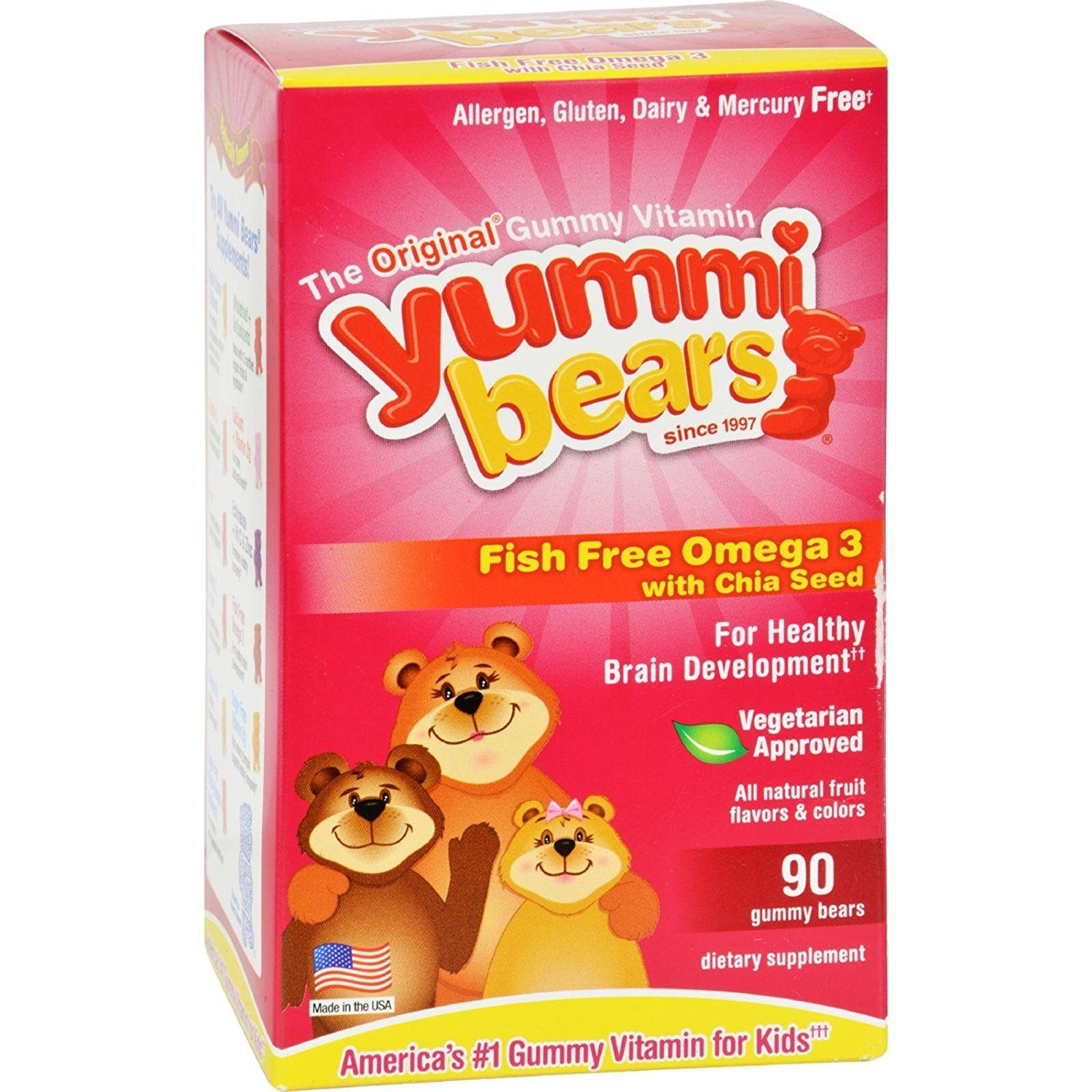 Yummi Bears (hero Nutritional Products) Omega 3 6 9 Plant Based Gummies 90 Ct