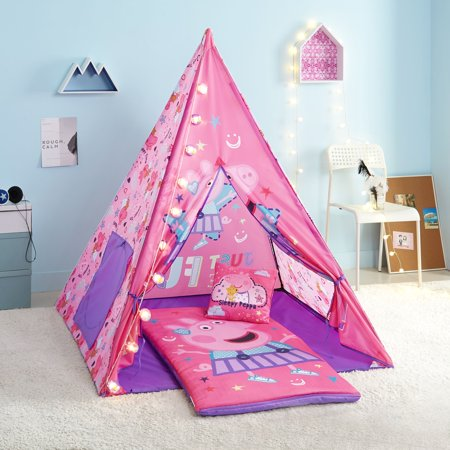Peppa Pig Teepee Tent Set Includes BONUS Lights, Slumber Bag, and Pillow - Pappe Pig