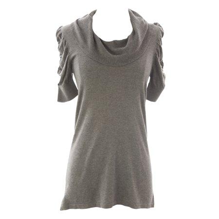 Women's Petite Grey Heather Cowl Neck Tunic Sweater