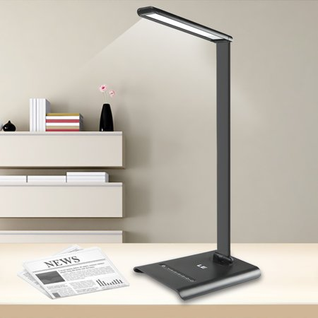 Lighting EVER 6W Dimmable LED Desk Lamp Light, 7-Level Brightness, Touch Sensitive Control, Daylight White, Folding Table Lamps, Reading Lamps, Bedroom Lamps ()