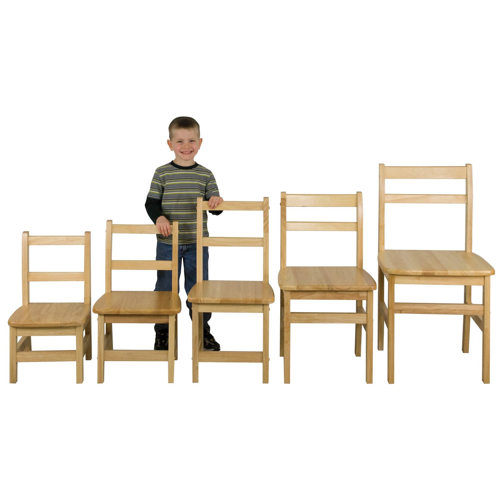 ECR4KIDS Hardwood Ladderback Chairs - 14 in. - Pack of 2