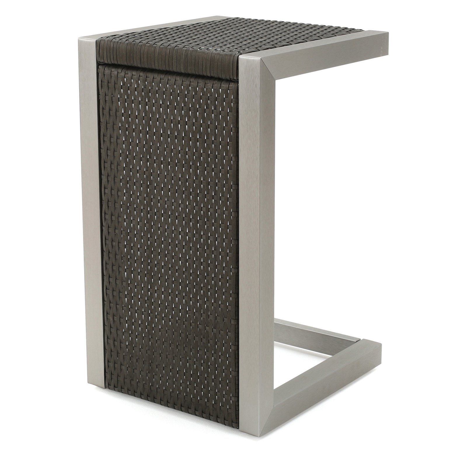 Cape Coral Grey Wicker Outdoor C-Shaped End Table